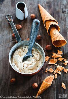 Hazelnut ice cream and ice cream cones