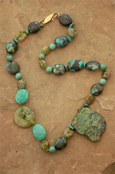 Earth Spirit Necklace: Chinese turquoise, jade, green garnets, peridot, glass seed beads