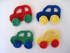 Handmade Crochet Car Appliques by GoldenLucyCrafts on Etsy Crochet Car, Filet Crochet, Crochet Motif, Crochet Flowers, Crochet Toys Patterns, Baby Knitting Patterns, Baby Vest, Yarn Crafts, Crochet Projects