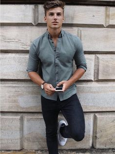 Mens > Shirts & Polos > The Anderson - Blakely Clothing Polo Shirt Outfits, Outfit Jeans, Casual Wear For Men, Casual Shirts For Men, Mens Fashion Wear, Fashion Outfits, Man Fashion, Moda Formal, Outfits Hombre