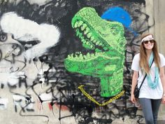 Graffiti art in Florence, Italy. Cool wall, cool chick.