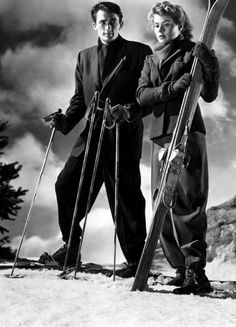"Gregory Peck & Ingrid Bergman in ""Spellbound"" 1945 Director, Alfred Hitchcock Gregory Peck, Ingrid Bergman, Vintage Hollywood, Classic Hollywood, Hollywood Icons, Mode Au Ski, Tv Movie, Vintage Ski, Vintage Travel"