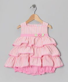 Take a look at this Pink Stripe Seersucker Tiered Bubble Bodysuit - Infant by Petit Pomme on #zulily today!