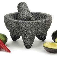#RSVP Authentic Mexican Molcajete - $49.95   http://www.cheftools.com/RSVP-Authentic-Mexican-Molcajete/productinfo/06-2534/    Great for homemade Guacamole!
