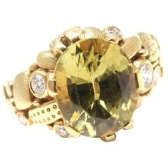 Alex Sepkus Peridot Diamond Yellow Gold Ring