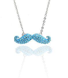 Crystal Mustache Necklace (Aqua) - $30.00 #thegirlnation #necklace #mustache #jewelry