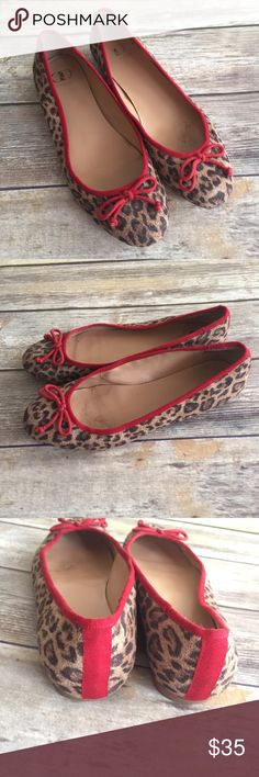 Anthropologie Kelsi Dagger Leopard Ballet Flats Animal print with red detail Ballet Flats by Kelsi Dagger from Anthropologie. Size 8.5. Wear on inner and bottom soles, the outer are in very good condition. ⚓️No trades or holds. I accept reasonable offers. I only negotiate through the offer button. I do not model. I ship within two business days of your order. I only use Posh. 🚭🐩B5 Anthropologie Shoes Flats & Loafers