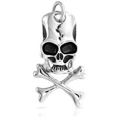 Bling Jewelry Bling Jewelry Antique Cracked Skull Crossbones Pendant... ($101) ❤ liked on Polyvore featuring jewelry, pendants, silver tone, stainless steel skull jewelry, antique jewellery, chain pendants, stainless steel chains jewelry and long pendant