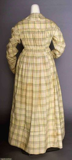 """For maternity or nursing: white w/ gray, blue & brown plaid, wide collar, piped yoke & armscye, deep V-front opening, CB drawstring casing, long sleeves, yoke lined in muslin, L 49.5"""", (scattered brown & gray stains) very good."""