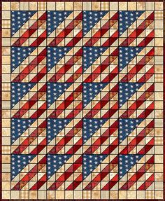 Old Glory in Scraps. This is a quilt, but I would make it with one or two rows as a table runner.