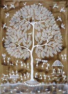Warli folk painting from India Contemporary Warli, tribal Tree Of Life Artwork, Tree Of Life Painting, Tree Art, Madhubani Art, Madhubani Painting, Art And Illustration, Art Illustrations, Art Indien, Worli Painting