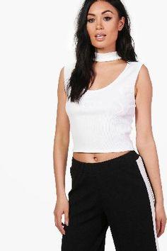 #boohoo Choker Sleeveless Rib Crop - white DZZ54426 #Amber Choker Sleeveless Rib Crop - white