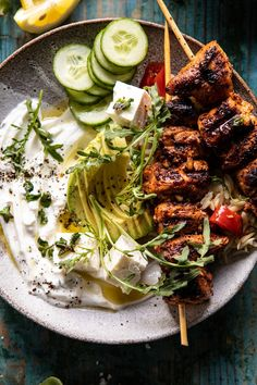 Greek Lemon Chicken Bowls with Sizzled Mint Goddess Sauce | halfbakedharvest.com #chicken #grilled #healthyrecipes #easyrecipes