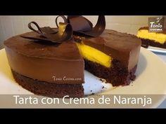 Tarta de chocolate con crema de naranja. Receta paso a paso.