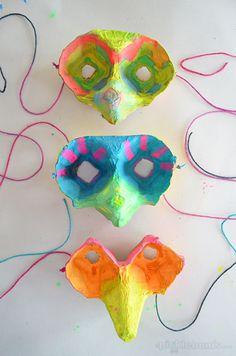 Bird Masks made from egg cartons, how cool!