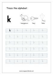 Alphabet Tracing Worksheet - Alphabet Tracing Sheets - Small Letter k Small Alphabet Letters, Alphabet Writing Practice, Tracing Letters, Alphabet Book, Learning Letters, Tracing Sheets, Free Printable Alphabet Worksheets, Letter Worksheets For Preschool, Free Printables