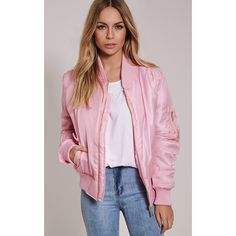 Alexus Pink Bomber Jacket-XS (865 CZK) ❤ liked on Polyvore featuring outerwear, jackets, pink, bomber style jacket, military jacket, military flight jacket, flight jacket and military inspired jacket