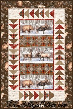 geese in the wilderness quilt block pattern Fabric Panel Quilts, Fabric Panels, Quilting Projects, Quilting Designs, Quilting Ideas, Paper Piecing, Wildlife Quilts, Horse Quilt, Quilt Border