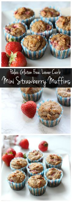These mini strawberry muffins are paleo, gluten free, and delicious! They're packed with protein so a little muffin can keep you full and energized!