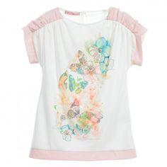 Miss Blumarine - White Jersey Top with Pink Chiffon Trims | Childrensalon