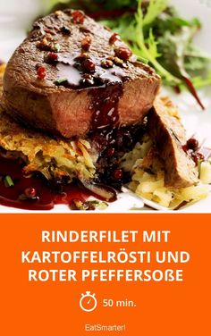 Beef fillet with potato rösti and red pepper sauce- Rinderfilet mit Kartoffelrösti und roter Pfeffersoße Beef fillet with potato rösti and red pepper sauce – smarter – time: 50 min. Chewy Peanut Butter Cookies, Nutella Cookies, Nutella Bar, Beef Recipes For Dinner, Cooking Recipes, Biscuit Nutella, Honey Roasted Peanuts, Beef Fillet, Beef Casserole Recipes