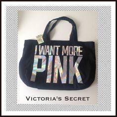 VS I WANT MORE PINK Black Canvas Tote. NWT VS I WANT MORE PINK Black Canvas Tote. NWT Victoria's Secret Bags Totes