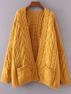 Ginger Drop Shoulder Cable Knit Cardigan With Pockets -SheIn(Sheinside) Mobile Site