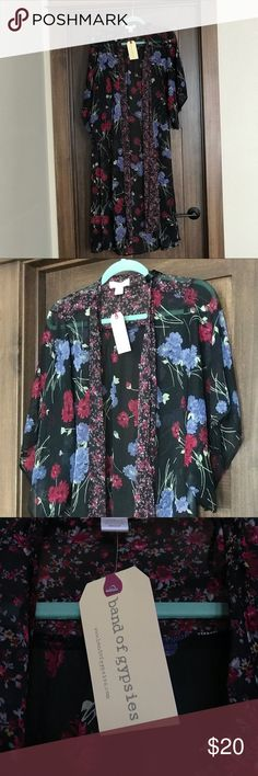 NWT Band of Gypsies Floral Boho Festival Duster New! Band of Gypsies sheer boho kimono open duster. Size S but very generous. 100% Polyester.  Beautiful black/blue floral print. Band of Gypsies Sweaters Shrugs & Ponchos