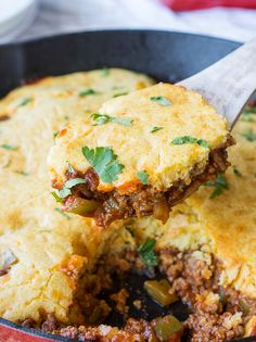 "One Skillet Sloppy Joe Cornbread Casserole is the no-fuss casserole of your dreams. This easy Southern recipe is cooked completely in one skillet, which means easy cleanup for you. To make this recipe, simply brown ground beef with onion and bell pepper before stirring in the sloppy joe sauce. Then, pour prepared cornbread batter on top and bake it in the oven. The trick to making this a one pan meal is to use an oven safe pan, such as a <a href=""http://www.favesouthernrecipes.com/Coo..."