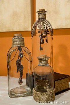 Pretty Recycled Glass Bottles, Glass Bottle Crafts, Bottles And Jars, Glass Jars, Mason Jars, Decorative Glass Bottles, Decorating With Glass Bottles, Wine Bottles Decor, Twine Wine Bottles