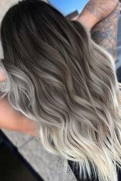Blond Ombre, Brunette Color, Ombre Hair Color, Hair Color Balayage, Hair Highlights, Hair Colors, Grey Ombre, Ash Grey, Ash Blonde Balayage
