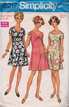 Simplicity 8217 1960s Dart Fitted Half Size Dress Pattern Vintage Sewing Pattern Size 12 1/2 Bust 35 inches