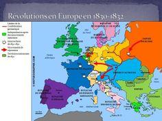 Carte des révolutions en Europe entre 1830 et 1832. Source: © HISTGEOGRAPHIE.COM
