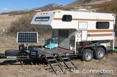 Here's a unique take on the toy hauler! And who doesn't love the idea of SOLAR POWER! Want to go off the grid and boondock.get some solar panels! soak up that sun and use it to your benefit! by mobilehomieofficial Truck Bed Camper, Truck Camping, Diy Camper, Camping Gear, 4x4 Trucks, Truck Mods, Generators For Home Use, Motorhome, Rando Velo