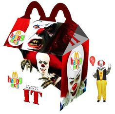 Celebrate with Horror Happy Meals by graphic designer Newt Cloninger-Clements Horror Movie Quotes, Funny Horror, Horror Movies, Stephen King Film, Stephen Kings, Captain America, Happy Meal Box, Netflix, Dc Comics