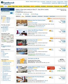 Expedia hotel search with filtering