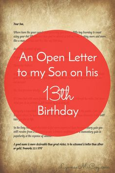 a letter to my son from his mother an open letter to my on his 13th birthday by 28942 | 9bdf86ed968e441a0468823f2ffef6b7 thirteen year old birthday ideas th birthday party ideas for boys year olds