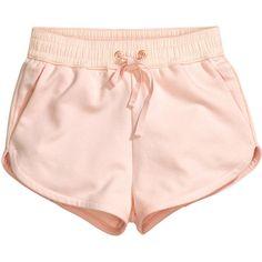 H&M Sweatshirt shorts ($8.92) ❤ liked on Polyvore featuring shorts, bottoms, pants, h&m, light pink, short shorts, mini shorts, h&m shorts, hot pants and light pink shorts