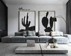Set of 2 cactus Painting Large Canvas Wall Art Set of 2 image 6 Cactus Painting, Cactus Art, Abstract Landscape Painting, Landscape Paintings, Abstract Animal Art, Black Feature Wall, Large Canvas Wall Art, Minimalist Painting, Black And White Painting