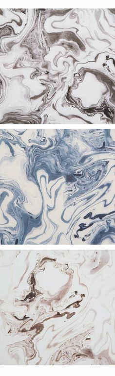 Digitally Printed Fabric from Rebecca Atwood Designs. The Marble pattern in three colorways: Smoke, Sea Blue and Taupe.