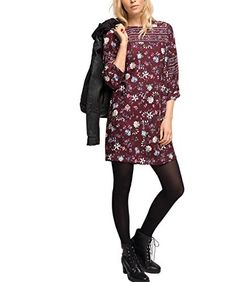 Fashion Online Shop, Shops, Edc By Esprit, Mini, Bordeaux, Dresses With Sleeves, Long Sleeve, Blouse, Red