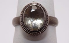 Sterling Silver Clear Topaz ring size 8  #Christmas