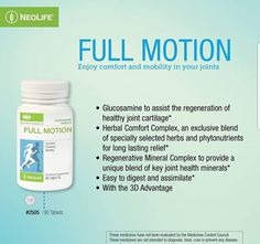 NeoLife Full Motion - Full motion empowers cells to produce more cartilage, inhibits the enzymes that break down cartilage, to reclaim comfort,flexibility, and mobility. Health And Wellness Quotes, Vitamin E, Natural Health, Wealth, Flexibility, Affirmations, Herbalism, Villa, Website