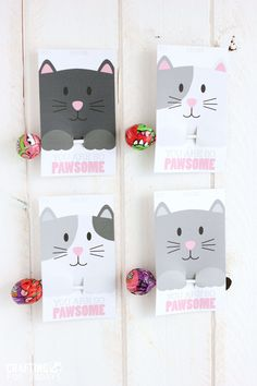 Free Printable Cat Valentine Day from CraftingE via thirtyhandmadedays.com #CatParty #CatBirthday