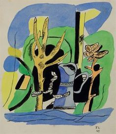 Fernand Leger (1881-1955)  Le Jardin  signed with initials and dated 'F.L 49' (lower right); signed again and inscribed 'F. Leger' (on the reverse) watercolor and brush and India ink on paper  12 5/8 x 9½ in. (32 x 24.1 cm.)  Painted in 1949