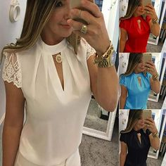 Women's Casual Chiffon Short Sleeve Splice Lace Crop Formal Tops Blouse T Shirt Womens Oversized Tops, Corsage, Lace Up T Shirt, Lace Crop Tops, Women's Summer Fashion, Formal, Short, Shirt Blouses, Blouses For Women