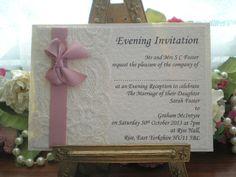 K0031 Chanel Dusky Pink Ivory Lace Satin Evening Invitation, Vintage Lace Wedding Cards Available from www.vintagelaceweddingcards.co.uk
