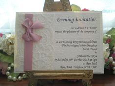 K0031 Chanel Dusky Pink Ivory Lace Satin Evening Invitation, Vintage Lace Wedding Cards Available from www.vintagelaceweddingcards.co.uk