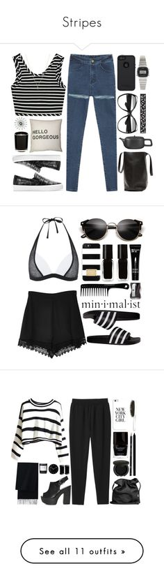 """""""Stripes"""" by andreiasilva07 ❤ liked on Polyvore featuring OtterBox, ASA, Yves Saint Laurent, Zara, Casio, Topshop, Laura Lee Jewellery, adidas, MICHAEL Michael Kors and Secret Charm"""