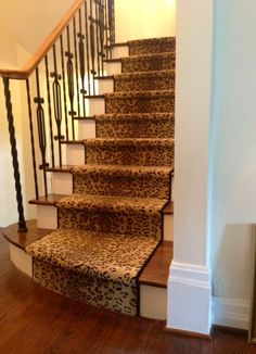 Leopard stair runner-I know I like it but will the rest of the family??